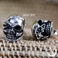 925 pure silver jewelry vintage thai silver skull stud earring male personality single earring male jewelry