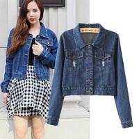 2014 Autumn Fashion Water Wash Denim Turn-down Collar Girls Denim Jacket, Short Design Denim Jacket