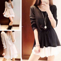 2014 autumn fashion normic side vent chiffon patchwork knitted slim faux two piece set one-piece dress