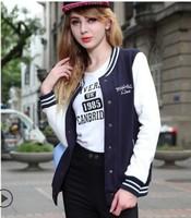 Baseball jacket women new 2014 sweatshirt outerwear sports suit moleton feminino spring girl cardigans tracksuit FREE SHIPPING