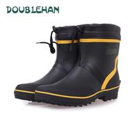 Fashion thermal doublehan high quality rubber boots low fishing shoes men rain boots water shoes rain shoes 37-46