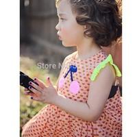 Cherry butterfly sleeve female child top girl t-shirt children's clothing summer 2014 annika