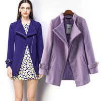 2014 Fashion Oblique Pocket Zipper Turn-down Collar Wool Jacket, Simple Casual Women's Winter Woolen Coat