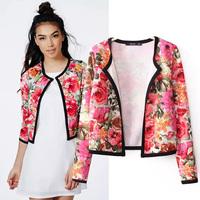 Fashion Women's 2014 Fancy Flower Print Hemming Long-sleeve Short Design Jacket, Autumn Stylish No Button Jacket