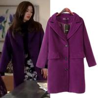 Fashion 2014 Winter Women's Single Breasted All-match Wool Coat, Elegant Celebrity Style Long Design Woolen Jacket