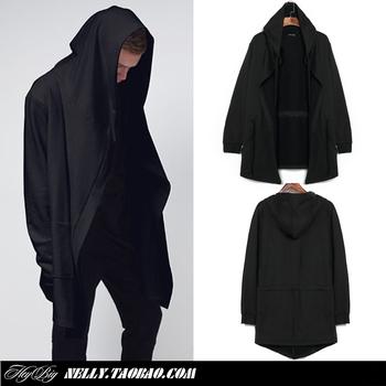 Оригинальный дизайн мужская одежда свитшот весна и осень средней длины с капюшоном кардиган мантиссы плащ верхняя одежда