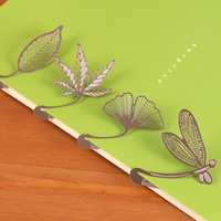 Free shipping 6pcs/lot Hot sales stationery stainless steel small ruler beautiful leaves bookmarks