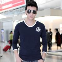2014 autumn new   Men Tee  Korean long-sleeved T-shirt Slim bottoming  Cotton shirt men