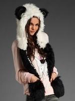 Fashion hat  winter animal cap faux fur one piece cartoon cap belt scarf