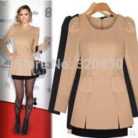 2014 plus size clothing one-piece dress fashion 200 mm woolen basic shirt faux two piece set