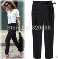 2014 plus size clothing autumn mm loose trousers bow suit pants