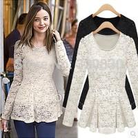 2014 plus size clothing basic shirt long-sleeve slim waist slim hip cutout crochet one-piece dress