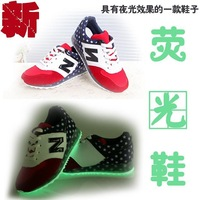 Hot New 2014 autumn winter Women neon shoes casual sport shoes letter N Luminous Patchwork Star Forrest gump shoes Free Shipping