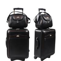 Women Travel Bag Crocodile Pattern Vintage Trolley Luggage PU Leather Travel Suitcase Universal Wheels Luggage Set 20 inch