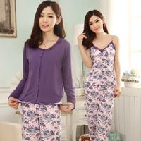 Women's long sleeve spaghetti strap length pants three piece set sleepwear lounge set purple