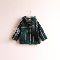 fashion girl child  woolen plaid horn button outerwear overcoat