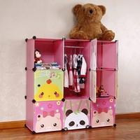 Cartoon child simple wardrobe baby storage cabinet folding combination wardrobe