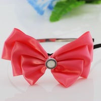 alloy black satin ribbon lined bow headband for girls