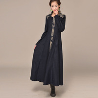 [LYNETTE'S CHINOISERIE - BE.DIFF] autumn slim long design wool stand collar woolen stripe patchwork medium-long winter