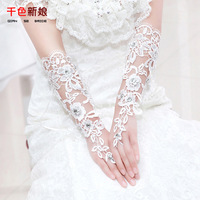 Rainbow bridal gloves st08 lace flower strap long design lucy refers to wedding gloves cutout married accessories
