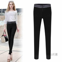 New 2014 autumn and winter leather patchwork skinny pants casual elastic pencil women pants female trousers legging capris