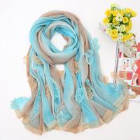 new arrival women  lace chiffon long scarfs ,autumn polyester fashion big shawls GS1949 175X150CM