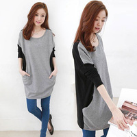 2014 autumn plus size clothing colorant match basic loose batwing sleeve long-sleeve slim one-piece dress
