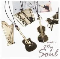 Free shipping 6pcs/lot  Hot sales lanyard metal musical instrument bookmarks