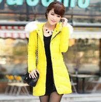 WYR02 2014 New Winter Coat Women Fox Collar Nagymaros Slim Down Coat Genuine Long Down Jacket