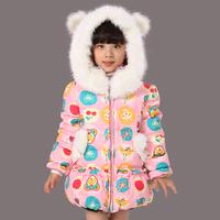 Free shipping retail Child down coat medium-long female child children princess children's infant clothing down coat clothes
