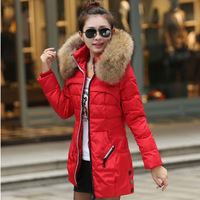 Raccoon down coat large fur collar thickening slim medium-long down coat female outerwear