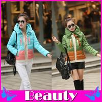 2014 female down coat winter jacket women fur jacket Outerwear Hooded thick short paragraph winter coat waterproof women coat