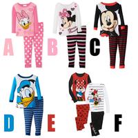 freeshipping!2014 newest kids cartoon pajamas set cartoon child sleepwear male female child long-sleeve sets minnie 5sets/lot