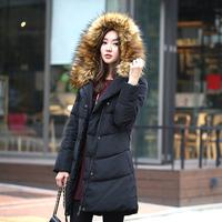 Vividini2014 plus size winter large fur collar medium-long down coat female