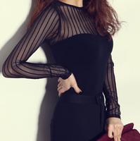 Autumn and winter perspectivity stripe black sexy racerback women slim long-sleeve basic t-shirt top women's