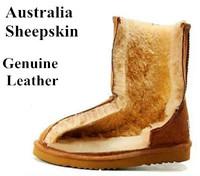 2014 Winter Wool Fur Genuine Leather Women Snow Boots Warm Australia Sheepskin Flat Heels Ladies Fashion Shoes Plus Size 35-40