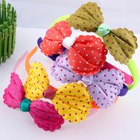Fashion girls Neon colors headband with big bow printed dot FREE SHIPPING