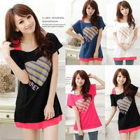 2014 summer new women's casual loose strap strapless short-sleeved t-shirt dress women