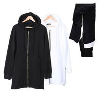 long side zipper hoodie men black white sweatshirt extended tyga hip hop diamond oversized slim fit skateboard swag streetwear