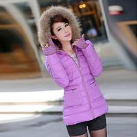 2014 women's fashion down wadded jacket cotton-padded coats winter women medium-long slim cotton-padded jackets large fur