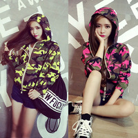 Drawstring with a hood metal zipper handsome bf Camouflage 2014 autumn cardigan female c3193