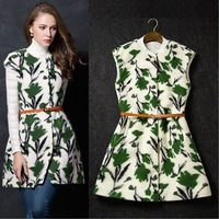 New arrival 2014 women's fashion high quality sleeveless wool jacquard sleeveless trench outerwear camisole vest with belt