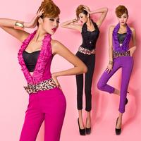 2014 spring and summer fashion halter-neck ruffle hem V-neck low-waist racerback clothing skinny pants jumpsuit