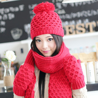 Siggi hat scarf gloves three-piece female Korean winter thick warm wool knit cap diamond suit free shipping styled Knitted