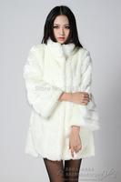 Fox fur three-dimensional patchwork fur coat medium-long