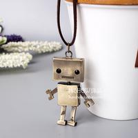 Fashion accessories long design necklace bronze robot Women male fashion vintage necklace