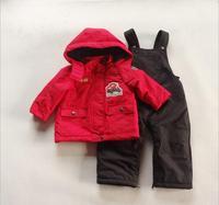 2014 NEW Winter Children's clothing SET Superior Waterproof ski suit Kids outdoor Snow Suit  Wadded Jacket+fur-lined bib pants