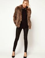 Fashion Slim Fur Coat Wave Stripe Long-Sleeve Turn-Down Collar Fur Collar Women Coat Overcoat Color Block Long-Haired Fur Coat