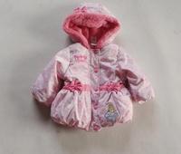 2014 winter Kids' Thickening Coat Girls Sweet Hodded wadded warm Jacket Children's outdoor Waterproof Fleece lined Parkas Outfit