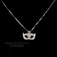 925 pure silver jewelry women's full rhinestone small ball masks necklace chain